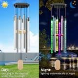 Arlmont & Co. Solar Wind Chimes Changing Colors, Waterproof LED Wind Chimes For Outside w/ 8 Tubes, Solar Powered Memorial Wind Chimes w/ Lights