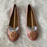 Tory Burch Shoes | New Tory Burch Minnie Patent Cap-Toe Ballet Flat | Color: Cream/Pink | Size: 8