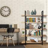 Latitude Run® 5-Shelf Industrial Bookshelf, Open Etagere Bookcase w/ Metal Frame, Rustic Book Shelf, Storage Display Shelves, Wood Grain | Wayfair