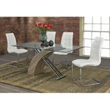 """Tree Line Furniture 35"""" Trestle Dining Table Wood/Glass in Brown, Size 30.0 H x 63.0 W x 35.0 D in   Wayfair TLF-1042W-TA"""