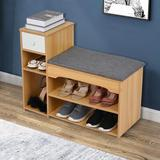 NEWLIVE Shoe Storage Bench Manufactured Wood in Yellow, Size 17.8 H x 31.5 W x 11.9 D in | Wayfair I01WMS2008241023KH