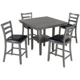 Red Barrel Studio® Nadine 5-Piece Wooden Counter Height Dining Set w/ Padded Chairs & Storage Shelving Wood/Upholstered Chairs in Black/Brown/Gray