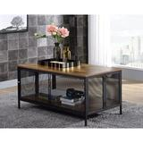 17 Stories Foldable Coffee Table, Antique Oak & Black w/ 1 Compartment Wood in Black/Brown, Size 21.0 H x 41.0 W x 22.0 D in | Wayfair