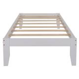 Latitude Run® Platform Bed w/ Pine Wood, No Box Spring Needed, Twin,Gray in White, Size 16.0 H x 39.0 W x 75.0 D in | Wayfair