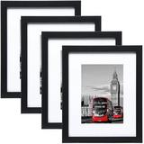 Latitude Run® 8X10 Picture Frames Set Of 10,Display 4X6 Or 5X7 Photo Frame w/ Mat Or 8X10 Without Mat,Wall Gallery Photo Frames in Black   Wayfair