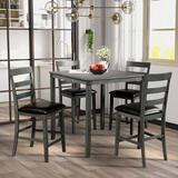 August Grove® Square Counter Height Wooden Kitchen Dining Set, Dining Room Set w/ Table & 4 Chairs (Grey) Wood/Upholstered Chairs in Black/Brown/Gray