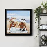 Highland Dunes Ladies w/ Lemonade - Picture Frame Painting on Canvas Metal in Black/Brown/White, Size 32.0 H x 32.0 W x 1.0 D in | Wayfair