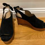 Anthropologie Shoes | Anthropologie Suede Slingback Sandals Size 9 | Color: Black | Size: 9