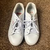 Levi's Shoes | Levis White & Glitter Lace Up Flat Tennis Shoes 8 | Color: Silver/White | Size: 8