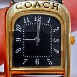 Coach Accessories | Coach Womens W501 Lady Arch Leather Analog Quartz | Color: Black/Gold | Size: Os