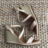 Anthropologie Shoes | Corso Como Gladis Wedge Sandal In Nude Nubuck | Color: Cream/Tan | Size: 10