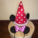Disney Party Supplies   Disney Minnie Mouse Princess Hat & Headband   Color: Pink/Red   Size: Adjustable One Size