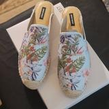 Nine West Shoes   Nine West Slip-On Espadrille Platform Mules   Color: Green   Size: 10.5