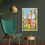 East Urban Home Comic Savannah Animals Playful Friendly Safari Jungle Happy Wildlife Nature - Picture Frame Graphic Art Print on Fabric in Brown