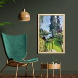 East Urban Home Sunny Spring Season Day Pier View in Countryside Rural Cottage Theme Nature - Picture Frame Photograph Print on Fabric in Brown