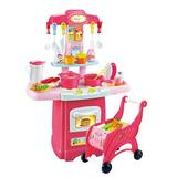 MotoShark Children's Toys Electronic Kitchen Set & Shopping Cart Cutlery Combination Set in Pink, Size 24.4 H x 17.71 W x 8.46 D in   Wayfair
