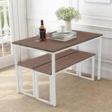 Latitude Run® 3-Piece Dining Table Set Kitchen Table w/ Two Benches, Kitchen Contemporary Home Furniture, Reddish Brown Wood | Wayfair in White/Brown