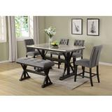 Charlton Home® Kensa 6 Piece Counter Height Dining Set Wood/Upholstered Chairs in Brown, Size 36.0 H x 38.0 W x 64.0 D in | Wayfair