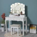 Rosdorf Park Vanity Set w/ 10 LED Bulbs & Big Mirror, Vanity Table w/ 5 Drawers & 1 Removable Organizer, Makeup Table w/ Pinewood Legs in White
