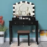 Rosdorf Park Vanity Set w/ 10 LED Bulbs & Big Mirror, Vanity Table w/ 5 Drawers & 1 Removable Organizer, Makeup Table w/ Pinewood Legs in Black