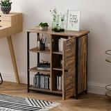 17 Stories Bathroom Cabinet, Storage Cabinet, Cupboard w/ 2 Hidden Adjustable Shelves, Sideboard w/ 3 Open Shelves, Side Cabinet, For Bathroom
