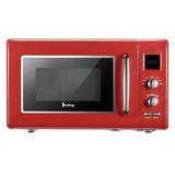 Winado 0.9 Cubic Feet Retro Microwave w/ Display, Black in Red, Size 11.42 H x 19.6 W x 15.2 D in | Wayfair 392873978266