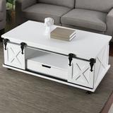 Sand & Stable™ Bjorn Wheel Coffee Table w/ Storage Wood in White, Size 18.0 H x 47.0 W x 24.0 D in   Wayfair CB9C17E7A0254DCA936B654C4B895E9E
