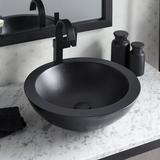 Native Trails Morro Concrete Handmade Circular Vessel Bathroom Sink in Black, Size 5.0 H x 17.0 W x 17.0 D in | Wayfair NSL1705-C