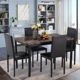 Latitude Run® 5Piece Dining Set Kitchen Table Set & 4 Leather Chairs Wood/Metal/Upholstered Chairs in Black/Brown/Green | Wayfair