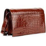 Croc-effect Patent-leather Shoulder Bag - Brown - Ganni Shoulder Bags