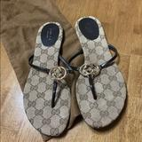 Gucci Shoes | Authentic Gucci Brown Thong Flat Sandals 7 12 | Color: Brown/Tan | Size: 7.5