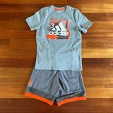 Adidas Matching Sets | Adidas Boys Matching T-Shirt And Shorts Size 7 | Color: Gray/Orange | Size: 7b