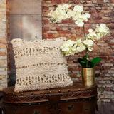 Dakota Fields Boho Woven Shaggy Sequin Throw Pillow Polyester/Polyfill/Cotton in Brown/White, Size 18.0 H x 18.0 W x 4.0 D in   Wayfair
