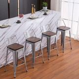 Williston Forge Metal Barstools Set Of 4 Counter Bar Stools w/ Wood Top Low Back Matte Black Metal in Gray/Brown, Size 37.0 H x 16.1 W x 16.1 D in