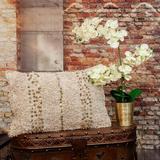 Dakota Fields Boho Woven Shaggy Sequin Lumbar Pillow Polyester/Polyfill/Cotton in Brown, Size 24.0 H x 16.0 W x 5.0 D in | Wayfair