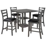 Red Barrel Studio® 5-Piece Wooden Counter Height Dining Set, Square Dining Table w/ 2-Tier Storage Shelving & 4 Padded Chairs in Gray   Wayfair