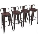 Williston Forge Metal Barstools Set Of 4 Counter Bar Stools w/ Wood Top Low Back Matte Black Wood/Metal in Gray/Black   Wayfair