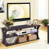 Red Barrel Studio® 3-Tier TV Stand Storage Console w/ Storage Shelves Wood in Brown/Green, Size 18.0 H in   Wayfair
