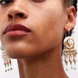 Zara Jewelry | 2$35 Zara Gold Pearl Tribal Drop Earrings D32 | Color: Gold/White | Size: Os
