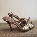 Gucci Shoes   Gucci Grey Metallic Peep Toe Strappy Sandals 7.5b   Color: Gray/Silver   Size: 7.5