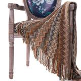 """Battilo Home Bohemian Knit Throw Blanket with Fringe Super Soft Striped Blanket for Couch, Sofa, Bed by Battilo Home in Red (Size 50"""" X 60"""")"""