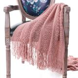 """Battilo Home Solid Knit Mesh Tassels Throw Blanket Super Soft Warm Multi Color, 51"""" x 59"""" by Battilo Home in Pink (Size 51"""" X 59"""")"""