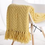 """Battilo Home Boon Knitted Tweed Throw Couch Cover Blanket by Battilo Home in Yellow (Size 56"""" X 96"""")"""