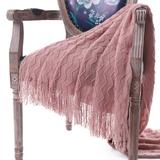 """Battilo Home Lightweight Throw Blanket Textured Solid Soft Sofa Couch Cover Decorative Knitted Blank by Battilo Home in Pink (Size 50"""" X 60"""")"""