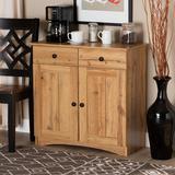 Baxton Studio Lauren Modern and Contemporary Oak Brown Finished Wood 2-Door Buffet Kitchen Cabinet - Wholesale Interiors DR 883400-Wotan Oak