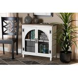 Baxton Studio Faron Classic and Traditional Farmhouse Two-Tone Distressed White and Oak Brown Finished Wood 2-Door Storage Cabinet - Wholesale Interiors 18Y1006-Oak/White-Cabinet