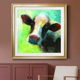 August Grove® Colorful Quirky Cow - Picture Frame Painting Metal in Black/Brown/Green, Size 32.0 H x 32.0 W x 1.0 D in | Wayfair