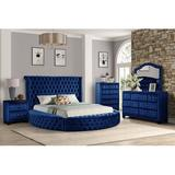 Rosdorf Park Taner Upholstered Standard 4 Piece Bedroom Set Upholstered in Blue, Size Queen | Wayfair 18DEAA16775840C6881355D3CD56827B