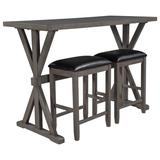 Gracie Oaks 3-Piece Counter Height Wood Kitchen Dining Table Set w/ 2 Stools For Small Places Wood/Upholstered Chairs in Gray, Size 36.0 H in