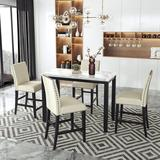 Red Barrel Studio® 5 Piece Counter Height Faux Marble Modern Dining Set w/ Matching Chairs & Marble Veneer For Home, Beige in Brown, Size 36.0 H in